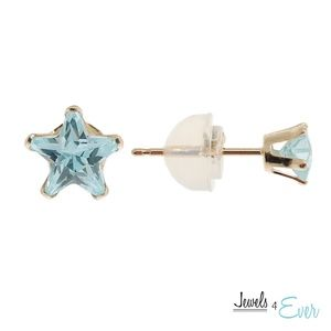 9K Gold Star Shaped Stud Earrings with Blue CZ